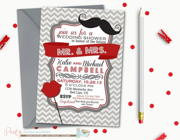 Lips And Mustache Wedding Shower Invitation Couples Shower