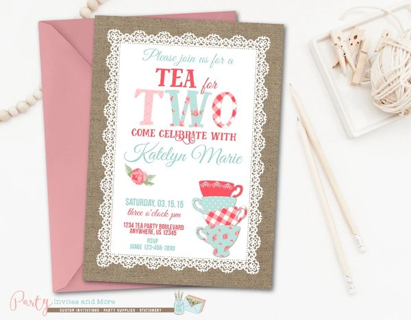 Burlap Shabby Chic Birthday Invitation Second 2nd Tea For Two