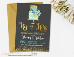 Couple's Wedding Shower Invitation, Couples Wedding Shower Invitation, His and Hers Wedding Shower Invitation, Gold and Black