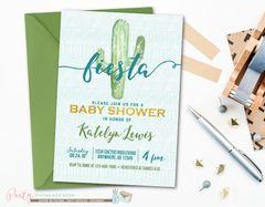 Fiesta Blue Cactus Boy Baby Shower Invitation