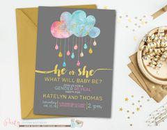 Gender Reveal Invitation, Gender Reveal Party, Gold Gender Reveal Invitation, Watercolor Gender Reveal Invitation, Blue or Pink, He or She