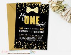 Mr Onederful Birthday Invitation, Bowtie Birthday Invitation, Mr. Onederful Invitation, Little Man Invitation, Black and Gold