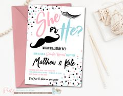 Gender Reveal Invitation White, Gender Reveal Party, Eyelashes, Mustaches, He or She Gender Reveal Invitation, Pink and Blue Invitation