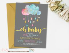 Gender Neutral Baby Shower Invitation, Sprinkle Baby Shower Invitation, Pink and Blue Baby Shower Invitation, Gold Baby Shower Invitation