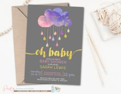 Rain Cloud Baby Shower Invitation, Sprinkle Baby Shower Invitation, Pink and Purple Baby Shower Invitation, Girl Baby Shower Invitation