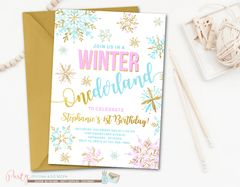 Winter Birthday Invitation, ONEderland Birthday Invitation, Snowflake Birthday Invitation, Winter Onederland, Purple and Silver Birthday