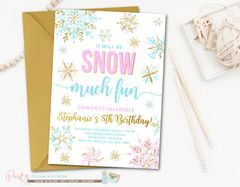 Girl Winter Snowflake Wonderland Birthday Invitation
