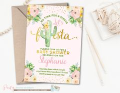 Fiesta Baby Shower Invitation, Cactus Invite, Cactus Party Invitation, Fiesta Party Invitation, Cactus Invitation, Girl Baby Shower