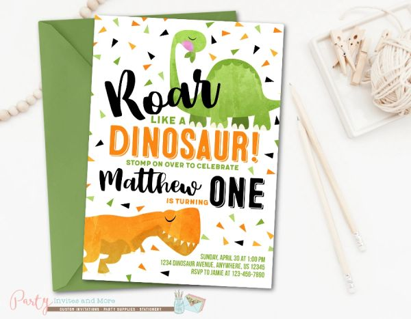 Modern Dinosaur Birthday Party Invitation for a Boy