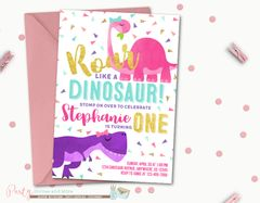 Modern Dinosaur Birthday Party Invitation for a Girl