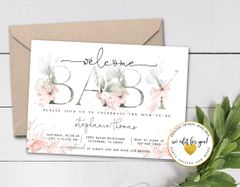 Pink Watercolor Floral Girl Baby Shower Invitation