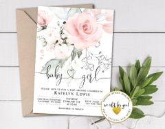 Pink Rose Watercolor Floral Girl Baby Shower Invitation