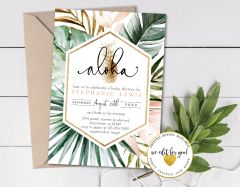Greenery Palm Leave Tropical Baby Shower Invitation with Pineapple