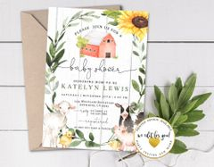 Greenery Farm Baby Shower Invitation with Baby Animals