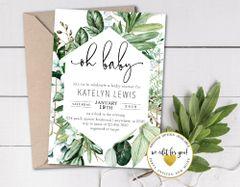 Lush Greenery Minimalist Baby Shower Invitation