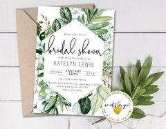 Lush Greenery Minimalist Bridal Shower Invitation