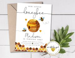 Bee Birthday Invitation, Honeybee Birthday Invite, Bumblebee