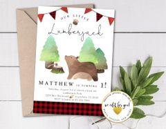 Lumberjack Birthday Invitation, Buffalo Plaid and Bears