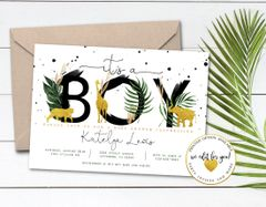 Safari Baby Shower Invitation with Gold Animals and Palm Leaves