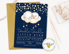 Twinkle Twinkle Little Star Sleeping Elephant Baby Shower Invitation