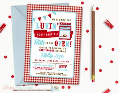 Bun in the Oven Baby Shower Invitation, Baby Shower Invitation, Bun in the Oven, Red and Blue, Gingham, BBQ, Baby Shower