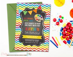 Chalkboard Rainbow Art Birthday Invitation