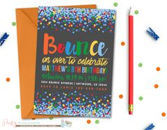 Jump Birthday Invitation, Bounce Birthday Invitation, Bounce House, Jump Invitation, Bounce Invitation, Trampoline Birthday Invitation