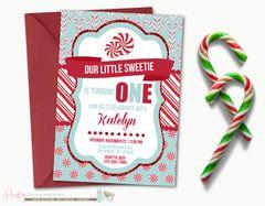 Winter Birthday Invitation, Candy Cane Birthday Invitation, Holiday Birthday Invitation, Winter Onderland Birthday Invitation