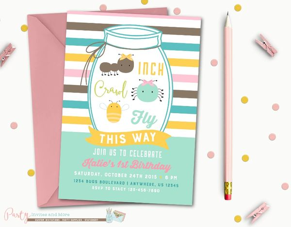 Bug Birthday Invitation Bugs Party Insect Mason Jar Insects