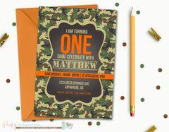 Camo Birthday Invitation, First Birthday Invitation, 1st Birthday Invitation, Hunter Orange Invitation, Camo Invitation, Hunting, Camo