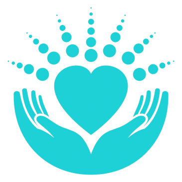 Teal TherapyWorks Massage Logo. hands holding a heart with mandala circles radiating. Massage 34691