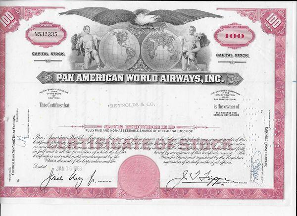 Pan American Airlines Stock Certificate
