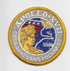 Apollo 17 patch. (Cernan, Evans & Schmitt). Blue background.