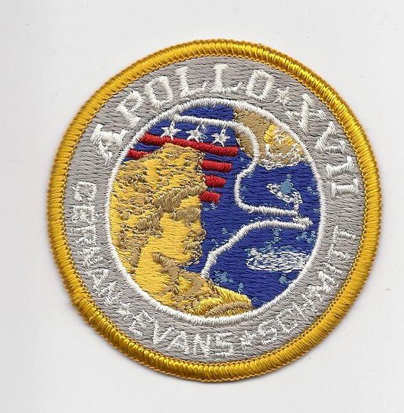 Apollo 17 patch. (Cernan, Evans & Schmitt). Blue background.