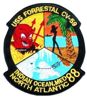 USS Forrestal CV-59 Indian Ocean, Med, North Atlantic 1988 Cruise patch