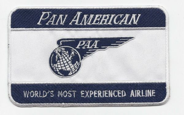 "Pan American Airways ""World's Most Experienced Airline"" Luggage Label patch"