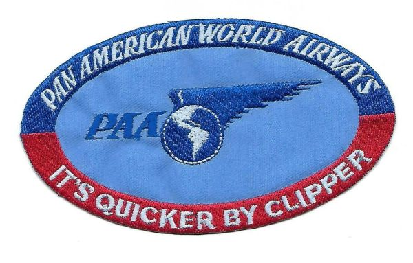 "Pan American Airways ""It's Quicker By Clipper"" Luggage Label patch"