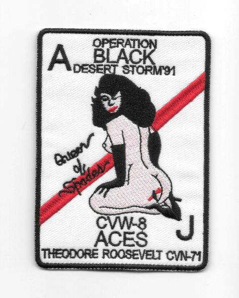 """US Navy VF-41 Black Aces """"Queen of Spades"""" patch"""