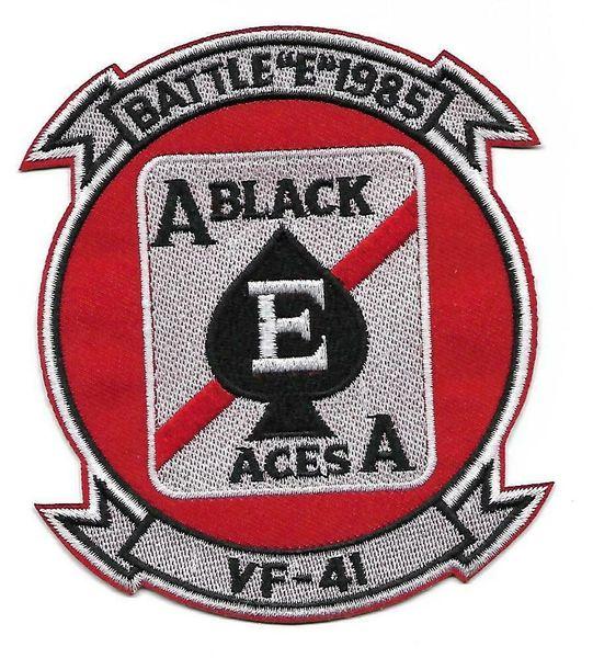 """US Navy VF-41 Black Aces Battle """"E"""" 1985 Squadron patch"""