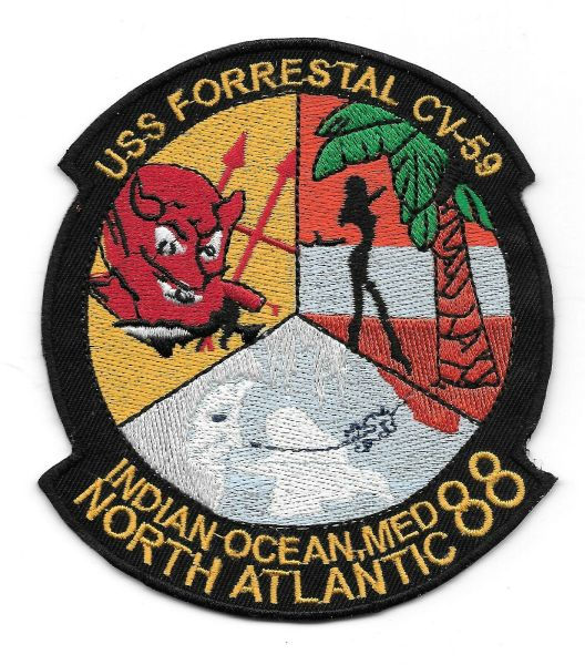 USS Forrestal CV-59 Indian Ocean - Med - North Atlantic 1988 Cruise patch