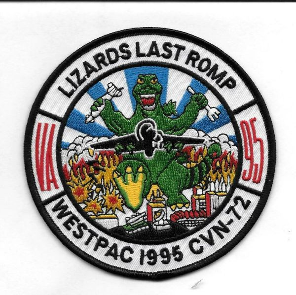 "Navy Fighter Squadron VA-95 ""Lizards Last Romp"" Westpac 1995 CVN-72 patch"