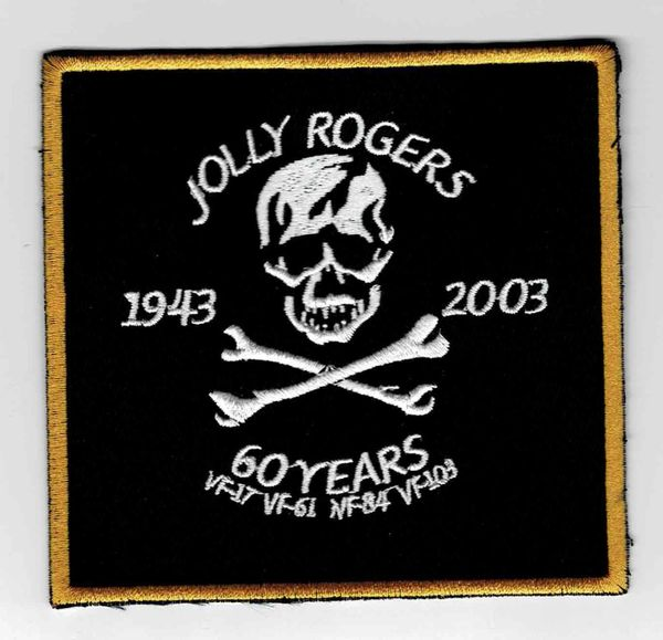 "US Navy Jolly Rogers ""1943 - 2003"" 60 Years Anniversary patch."