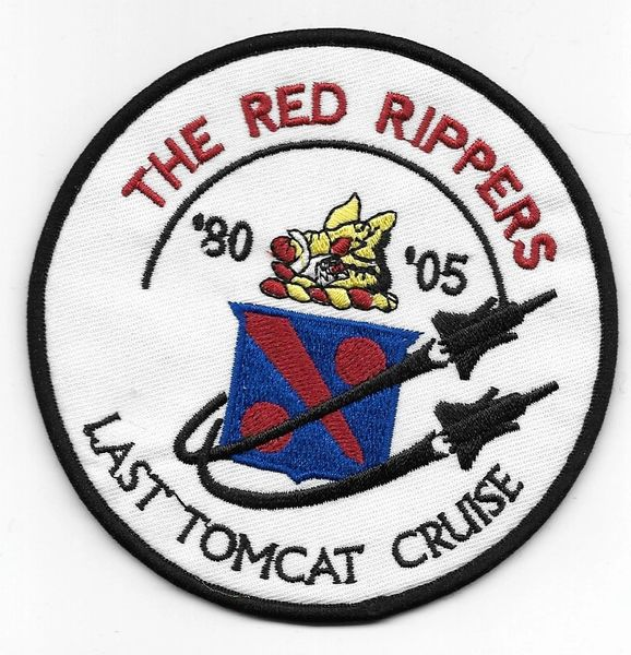 "US Navy F-14 Tomcat VF-11 ""The Red Rippers - Last Tomcat Cruise"" Squadron patch."