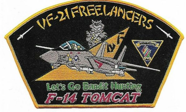 "VF-21 ""Freelancers - Let's Go Bandit Hunting"" F-14 Tomcat Squadron patch."