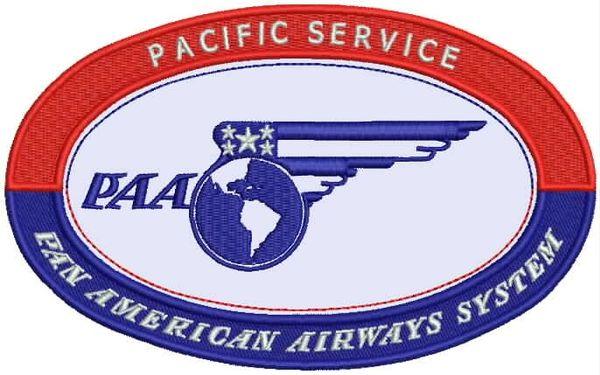 "Pan American World Airways 1930's ""Pacific Service"" Luggage Label patch"