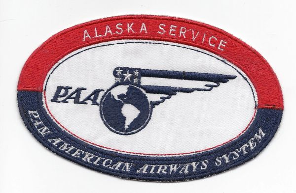 "Pan American World Airways 1930's ""Alaska Service"" Luggage Label patch"