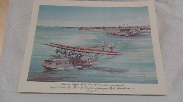 "Pan Am historic flights First Class menu. S-40 Flying Boat ""American Clipper"""