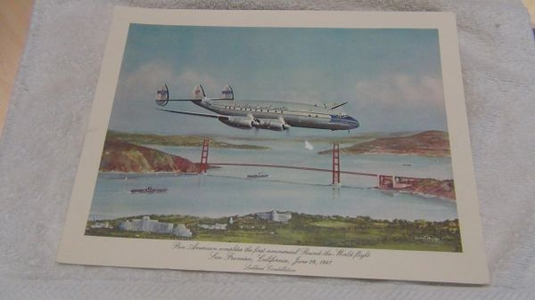 Pan Am historic flights First Class menu. Lockheed Constellation