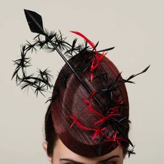 Red and Black Sinamay Percher Hat