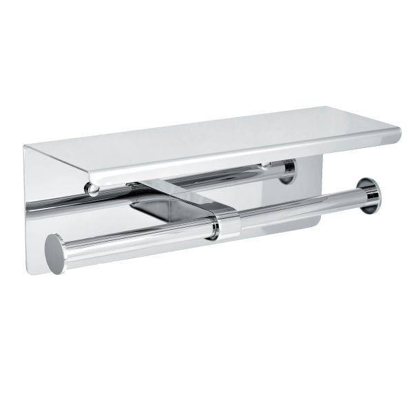 TOILET PAPER HOLDER CHROME WITH SHELF STORAGE RACK